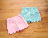 Scalloped shorts - fully lined - for baby toddler girl - CHOOSE your own fabric - ONE Pair - 2T to size 12 - summer shorts