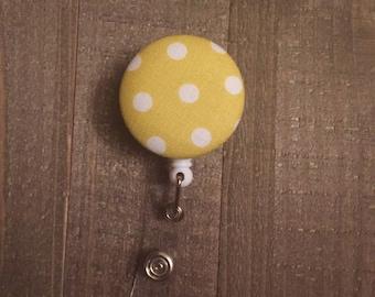 Mustard + White Polka Dot Badge Reel - Yellow - Dots - ID Badge Holder - Name Badge - Nurse Badge - RN Badge
