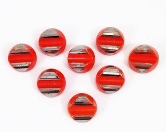 Set of Eight Art Deco Orange Glass Buttons