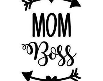 Mom Boss Funny Vinyl Car Decal Bumper Window Sticker Any Color Multiple Sizes Mothers Day Jenuine Crafts