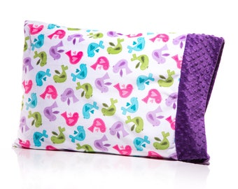 Girl Pillowcase, Toddler Pillow, Tweet Tweet Birdie, Green Purple Hot Pink Teal Cute Girly - Personalize with a free monogram READY TO SHIP