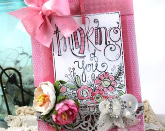 shabby chic card-THINKING OF YOU water color greeting