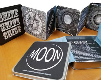 MOON BOOK, an accordion book of moon whimsy and art