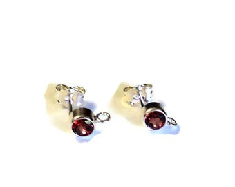 1 Pair (2 Pieces) Sterling Silver Post Earrings 4 mm Garnet Gemstones and Bottom Loop, Earring Components, Jewelry Findings, DIY Jewelry