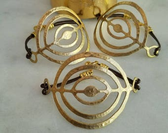 Gold Circles Bracelet, Crop Circles Cuff, Hammered Brass, Metallic Brown Leather Cord, Concentric Circles, Unisex, Gift Box