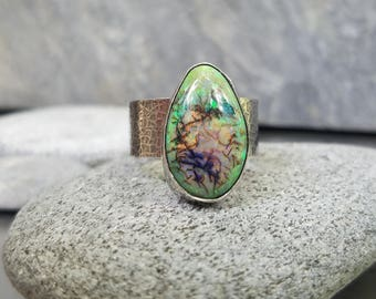 Monarch Opal Ring, Green, Orange Gemstone, Wide Band, Sterling Silver, Hammered, Size 7.25 to 8.25