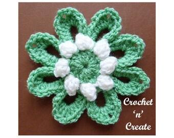 Crochet Popcorn Flower Crochet Pattern (DOWNLOAD) CNC90