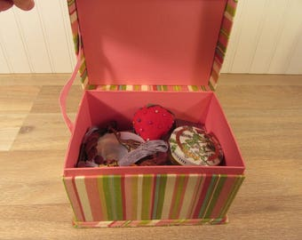 Sewing kit with vintage sewing supplies in fabric covered pastel box
