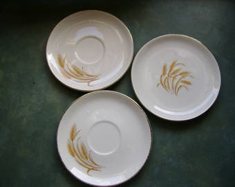 3 Golden Wheat Pieces-2 Saucers and 1 Desert Plate-22K Gold--Made In USA--Oven Proof-Mid Century