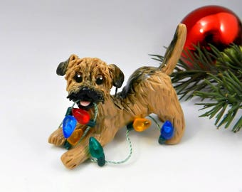 Border Terrier Christmas Ornament Figurine Lights Porcelain
