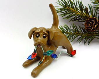 Labrador Retriever Chocolate Christmas Ornament Porcelain Clay Lights