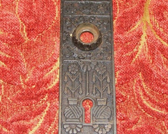 Antique Eastlake Skeleton Key Keyhole Metal Cover Back Plate Patina Hardware Escutcheon