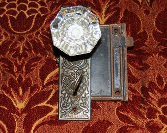 Antique Crystal and Thumb Turn Latch French Door Knob with Skeleton Key  Eastlake Back Key Hole Cover Plate Hardware Box Lock Set