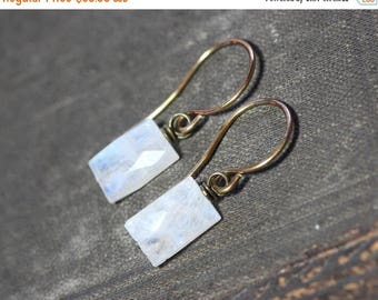 SALE Moonstone Earrings ~ White Moonstone ~ Rustic Jewelry ~ Antiqued Brass White Earrings