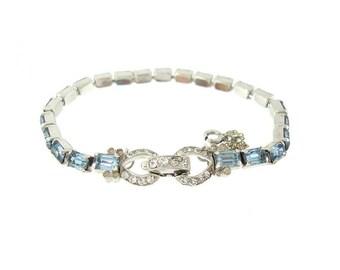 Jomaz Vintage Sapphire Bracelet. Octagon Rhinestone Link. Designer Vintage Jewelry. 1950s Fine Wedding Jewelry