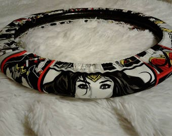 NEW! Wonder Woman Imagined * Limited Edition! Steering Wheel Cover * Seat Belt Cover * Fully Lined All-Weather