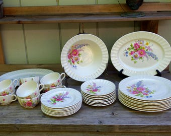 Edwin M. Knowles Spring Bouquet  Dinnerware Set for 8