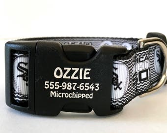 Chicago White Sox personalized Dog Collar You Pick Size Pet Identification on Buckle Permanent Laser Engraved All Dog Breeds Made in USA MLB