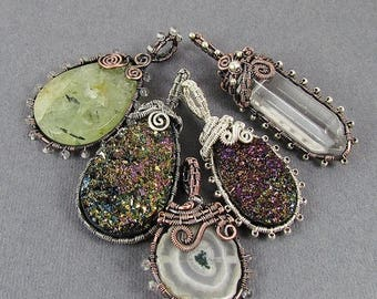 SALE - Beaded Frame Pendant Wire Wrapped Pendant Tutorial