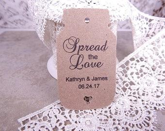 Mason Jar Wedding Gift Tags Wedding Favor Tags Spread the Love Bridal Shower Tags Party Favor Tags Mason Jar Tags Pick Color