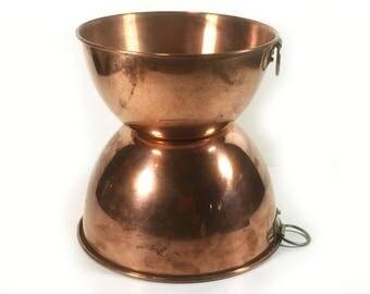 Pair of Vintage Copper Kitchen Bowls, Mixing Bowls