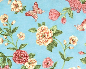Moda Fabrics April Cornell Natures Chorus Floral Butterfly Fat Quarter in Blue