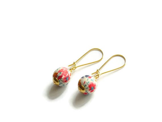 Liberty earrings, Cute earrings, Colorful earrings, Pink earrings, Summer earrings, Liberty jewelry, Summer jewelry, Allergy free earrings