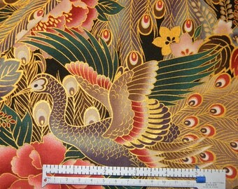 Colorful Asian Peacock Cotton Fabric by Quilt Gate