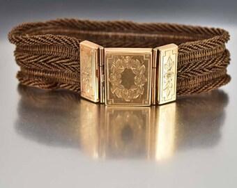 Victorian Hair Bracelet, Rose Gold Bracelet, Woven Hair Mourning Bracelet Victorian Bracelet, Victorian Mourning Jewelry