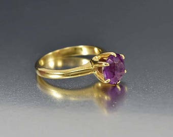 Edwardian Engagement Amethyst Ring, 14K Gold Antique Engagement Ring, Solitaire Amethyst Ring, Antique Jewelry, February Birthstone Ring