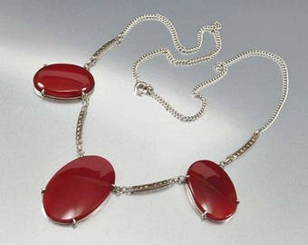Silver Marcasite Carnelian Necklace   Art Deco Necklace   Vintage Chalcedony Necklace   Marcasite Necklace   Anniversary Gift Fine Jewelry