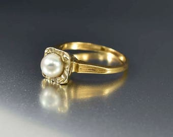 Antique Pearl Ring | Art Deco 14K Gold Ring | Pearl Solitaire Ring | Alternative Engagement Ring | Anniversary Ring | White Gold Ring