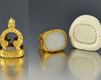 ON HOLD Victorian Gold Intaglio Seal Watch Fob | Antique French Wax Seal Stamp Pendant | Chalcedony 9K Gold Repondez Vite Bird Pendant Charm