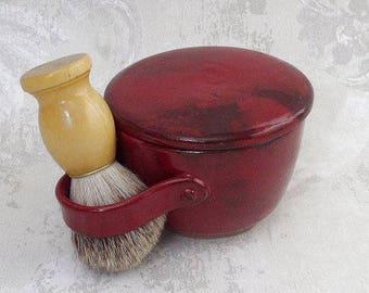 Second- Lidded Shaving Mug in Burgundy