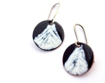 Winter Earrings, Monochrome Jewelry, Snowy Trees Enamel Earrings, Black and White Earrings, Circle Earrings, Minimal Jewelry, Bold Earrings