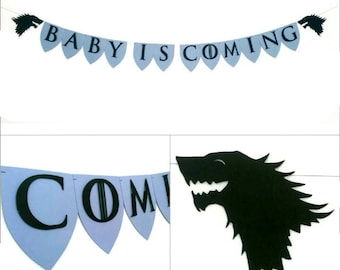 Game of Thrones Baby Shower Garland, Gender Reveal, Baby is Coming, Welcome Baby, Baby Shower Decoration