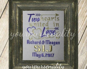 Two hearts united in Love -- Wedding Gift -- Anniversary Gift -- Wedding Shower Gift -- Bride and Groom gift