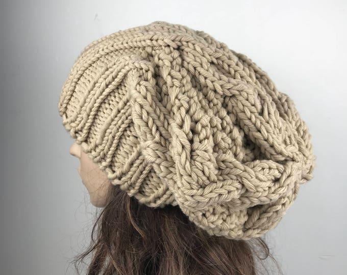 Hand knit woman man unisex hat - Oversized Chunky Wool Hat, slouchy beige hat, winter hat