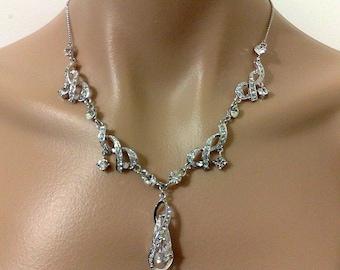 Swarovski Bridal Necklace, Statement Wedding Necklace, Infinity Wedding Jewelry, Crystal Bridal Jewelry, Cz Drop Silver Necklace, FOREVER