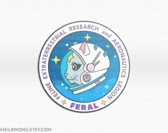 FERAL Cat Astronaut #1 Cat Sticker, Astro Cat, Glossy Sticker, Astronaut Sticker, Laptop Sticker, Cat Space Suit