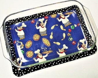 Pizza Man, Oversize Large Hot Pad for Casserole Dish, Blue & Black, Insulated, Heat Resistant, Quilted, Trivets, Shower Housewarming Gift