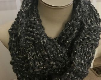Chunky Knit Inifinity Scarf- Charcoal