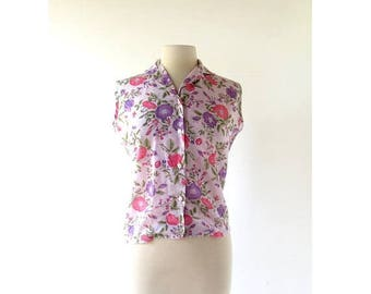 20% off sale 60s Sleeveless Blouse | Plum Peony | Floral Blouse | S M