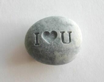 I heart U Engraved Stone River Rock Worry Stone I love You Inspirational Stone