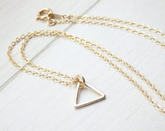 Gold Triangle Necklace - Minimalist Necklace -Geometric Necklace