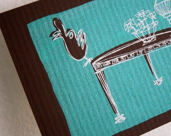 CURIOS   funny rooster on a retro marble coffee table in mint and chocolate, original small art print with a white mat by Kathryn DiLego