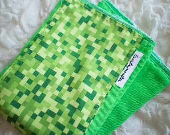 Baby burp cloth - Bright green pixels hand dyed burp cloth