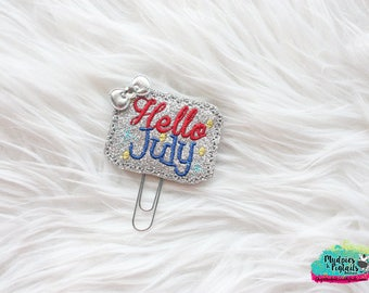 Planner Clip { Hello July } Summer Paper Clips, Stationary, Planner Supplies Birthday party favors, gold bow, kikkik, happy planner