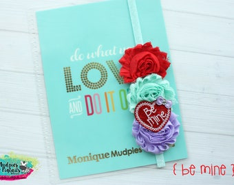 Valentines day Planner band { Be Mine} candy box, love glitter, red aqua lavender planner girl, bible journaling band, baby headband