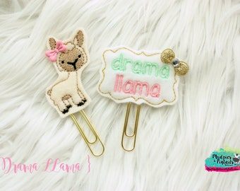 Planner Clip { Drama LLama } mint, pink gold Paper Clips, Stationary, Planner Supplies, gift, parade, party